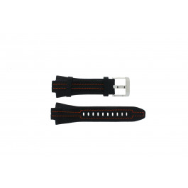 Seiko Uhrenarmband 7L22-0AD0 Leder Schwarz 15mm + orange Nähten