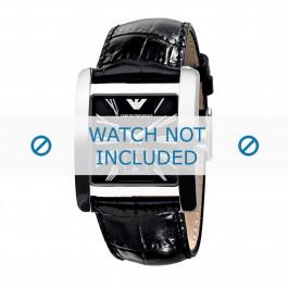 Uhrenarmband Armani AR0180 Leder Schwarz 28mm