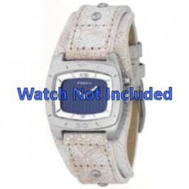 Uhrenarmband Fossil BG2043 Leder Beige 20mm