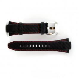 Uhrenarmband Seiko 7T62-0ED / SNA633P1 Leder Schwarz 15mm