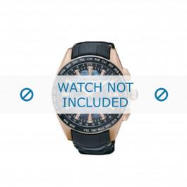 Uhrenarmband Seiko 8X22-0AE0 / SSE105J1 Leder Schwarz 22mm