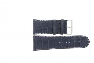Kroko echt Leder Uhrenarmband dunkelblau mit weißer Naht WP-61324.36mm
