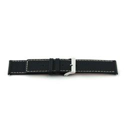 Echt Leder Uhrenarmband schwarz mit weißer Naht 34mm EX-J43