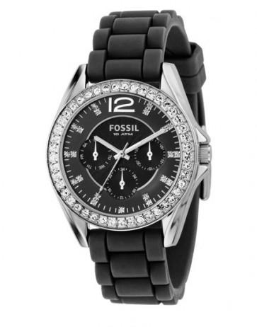 Uhrenarmband Fossil ES2345 Kautschuk Schwarz 18mm