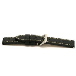Uhrenarmband Leder schwarz mit weiß abgesetzter Naht 24mm EX-I109