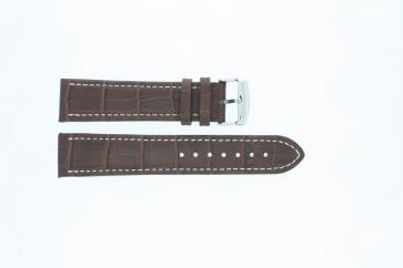 Büffelskalbsleder Uhrenarmband mittelbraun mit weiß abgesetzter Naht 22mm 518