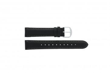 Q&Q Uhrenarmband QQ18LD-WS-GS Weiches Leder Schwarz 18mm + weiße nähte
