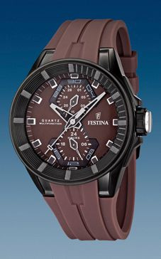 Uhrenarmband Festina F16612-2 / F16611-2 Kautschuk Braun 18mm