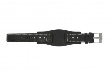 Fossil Uhrenarmband JR9991 / AM3696 Leder Schwarz 24mm
