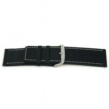 Echt Leder Uhrenarmband schwarz mit weißer Naht 30mm H79