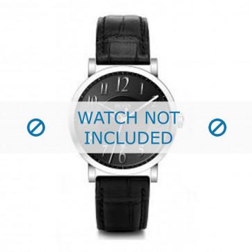 Hugo Boss Uhrenarmband HB-19-1-14-2002 / HB1512175 / HB1512176 / HB1512008 Leder Schwarz + schwarzen nähte
