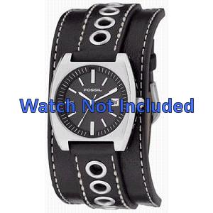 Uhrenarmband Fossil JR8205 Leder Schwarz 16mm