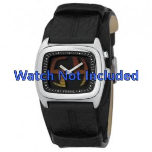 Uhrenarmband Fossil JR8214 Leder Schwarz 22mm