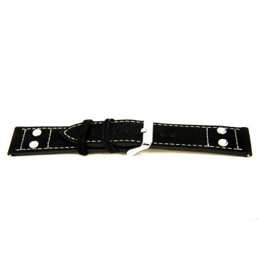 Echtes Leder schwarz 24mm 'grobe Struktur' EX-K469