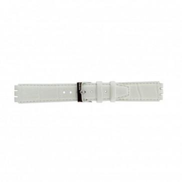 Uhrenarmband Swatch (alt.) 21414.11 Leder Weiss 17mm