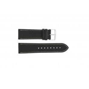 Uhrenarmband 307.01 Leder Schwarz 18mm + weiße nähte