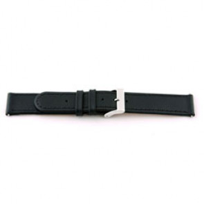 Echt Leder Uhrenarmband 20mm schwarz mit abesetzter Naht EX-J46