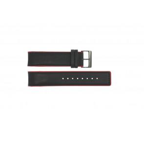 Uhrenarmband Obaku V141 Leder Schwarz 22mm