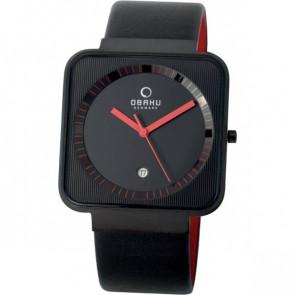 Uhrenarmband Obaku V139G-R Leder Schwarz 22mm