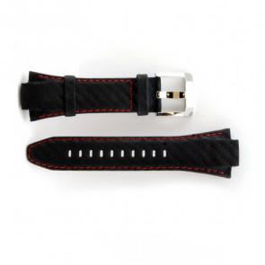 Seiko Uhrenarmband echtes Leder mit roten Nähten 7T62-0ED0 SNA633P1