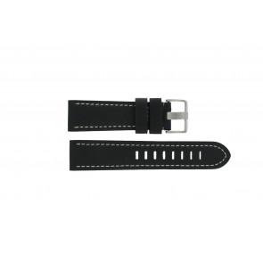 Prisma Uhrenarmband ZWST23 Leder Schwarz 23mm + weiße nähte